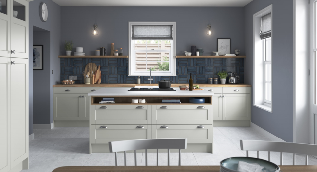 dawson's slim frame, sloped internal profile and v-groove detailing offer a unique design that can adapt to suit both contemporary and traditional styling. featured here using mock inframe, glazed doors and open shelves to create lots of detail and interesting focal points. dawson is available in six stunning colours that will easily bring your dream kitchen to life.